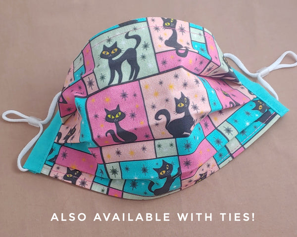Black Cats and Starbursts Fabric Face Mask