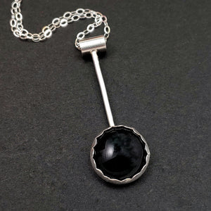 Minimalist Drop Necklace with Black Glass