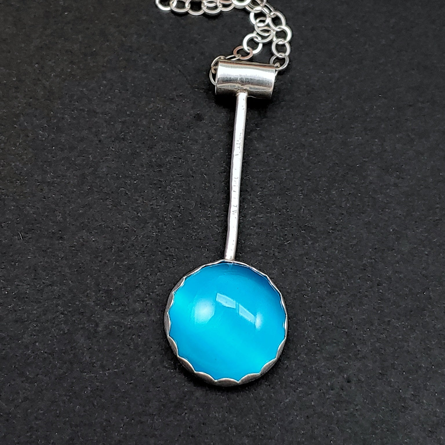 Minimalist Droplets Necklace with Aqua Cat's Eye