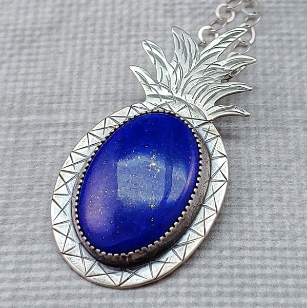 sterling silver blue lapis lazuli hand stamped pineapple necklace