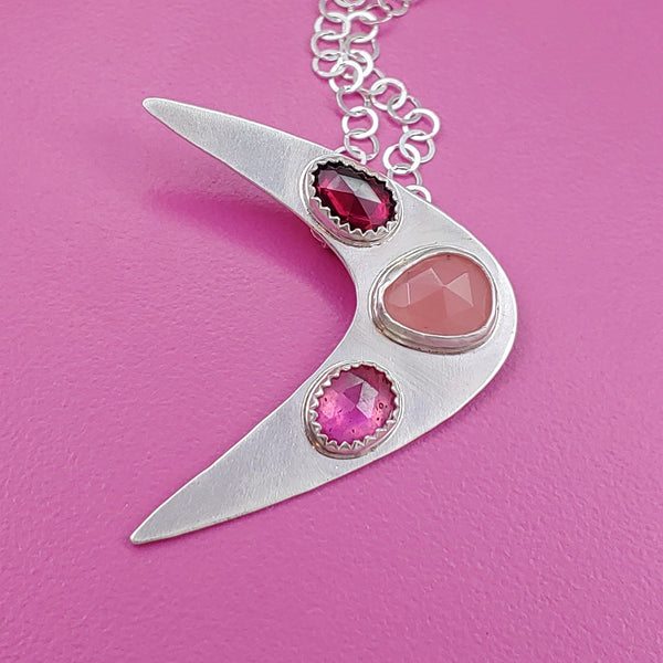 Triple Gemstone Sterling Silver Boomerang Necklace in Shades of Pink