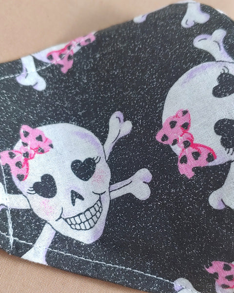 Skull with Bow Fabric Face Mask