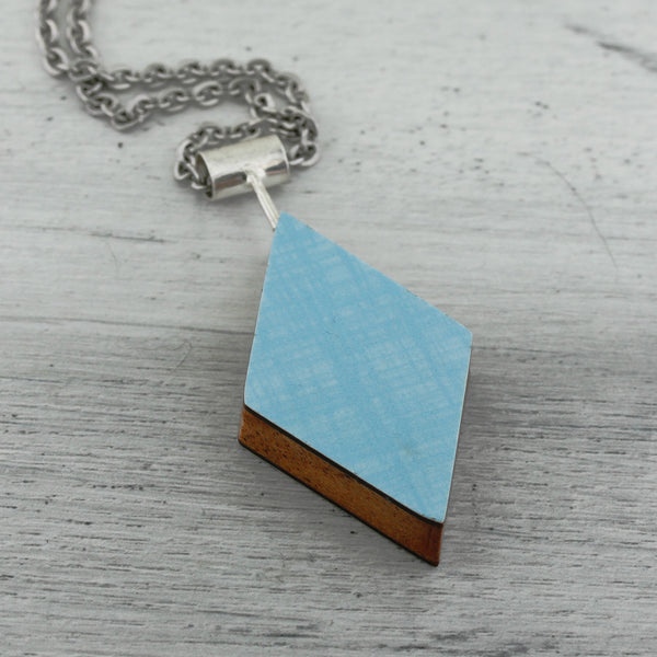 Diamond shaped light blue laminate on wood art jewelry necklace