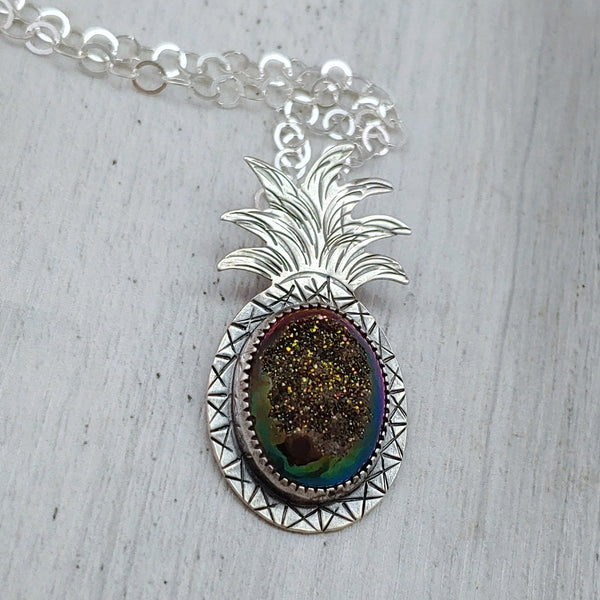 handmade sterling silver druzy pineapple necklace