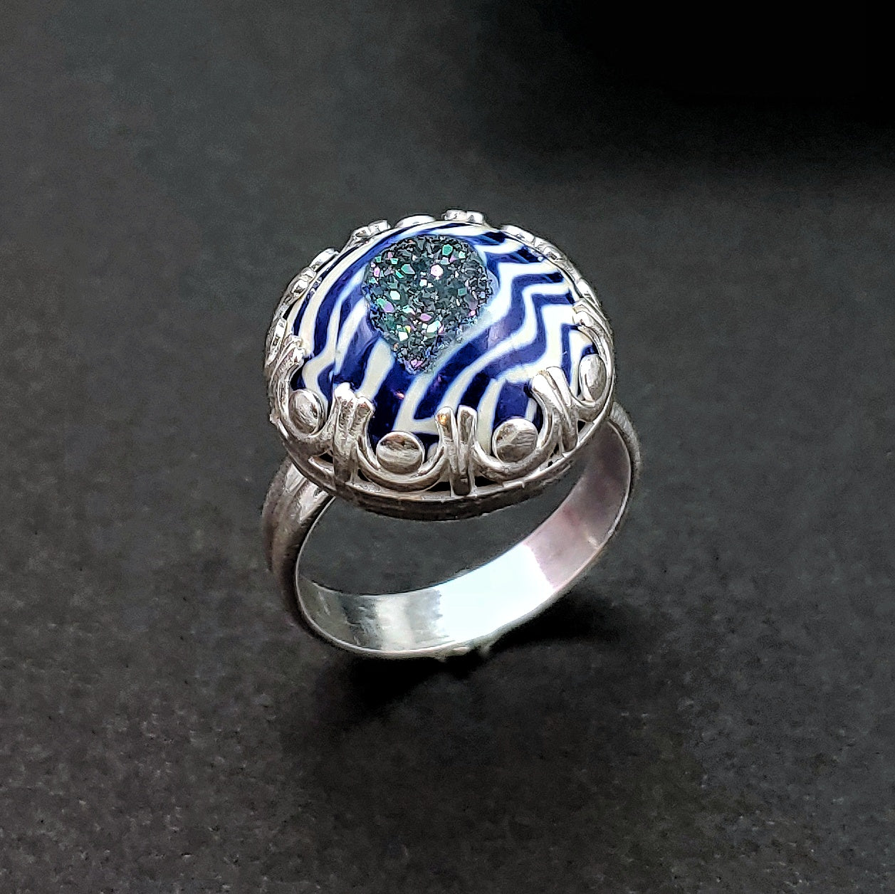 Zebra Stripe Druzy Sterling Silver Ring