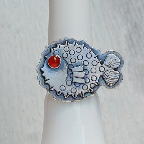 Puffer fish ring with carnelian eye