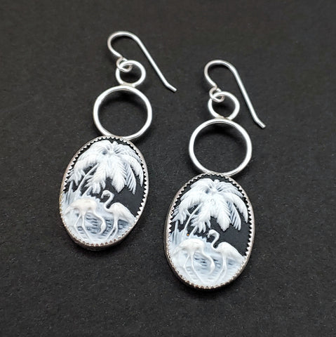 Flamingo Cameo Dangle Earrings