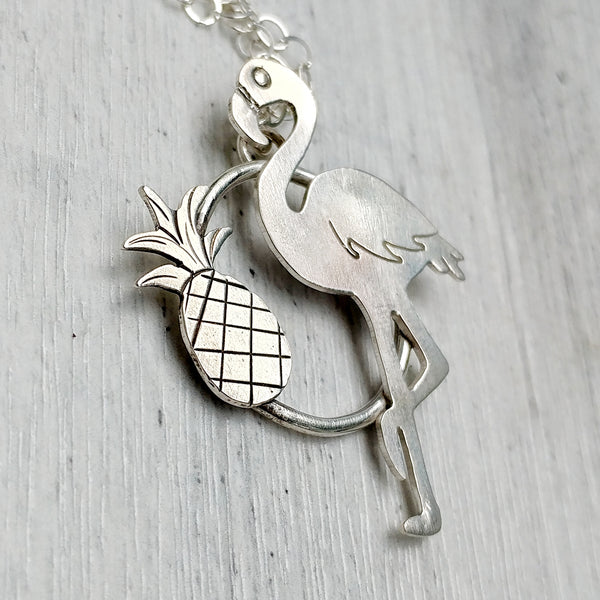 Flamingo and pineapple necklace