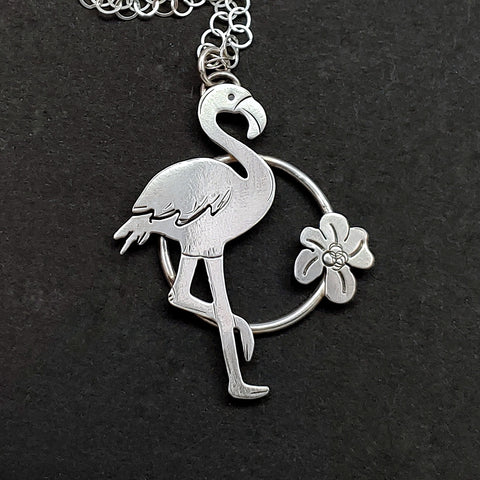 Flamingo Necklace in Circle with Flower