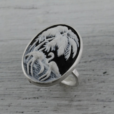 Tropical flamingo and palm trees resin sterling silver ring