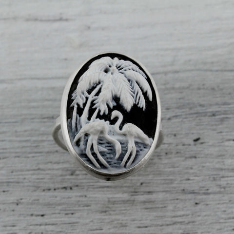 Black and white flamingo resin cameo sterling silver ring