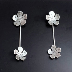 Tiki jewelry sterling silver flower earrings