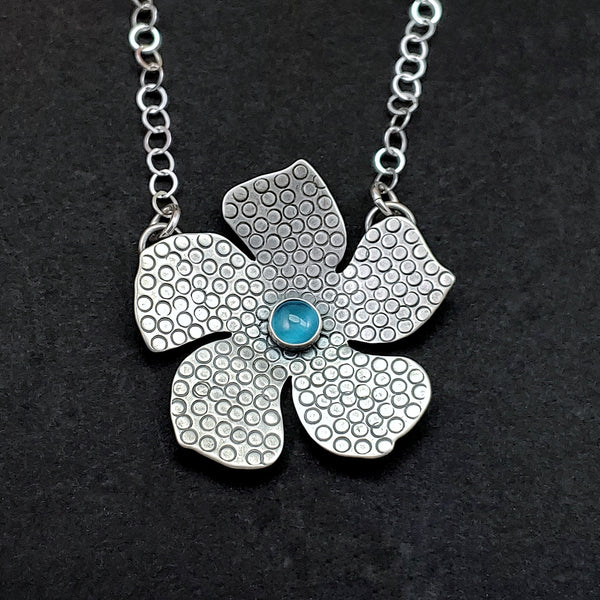 Flower Necklace with Gemstone Center
