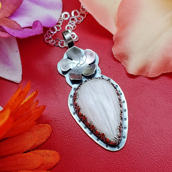 White Scolecite Flower Necklace