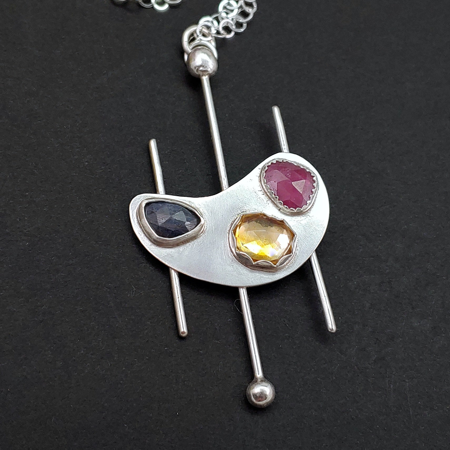Gemstone Kidney Shape Sterling Silver Necklace