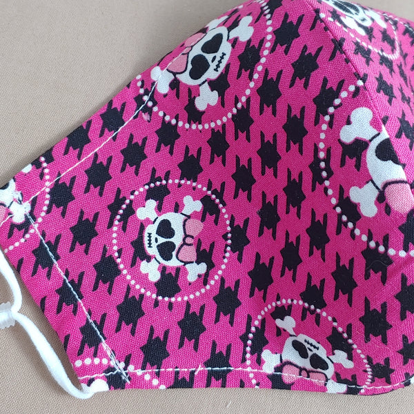 Skulls with Bow on Pink Reversible Fabric Face Mask