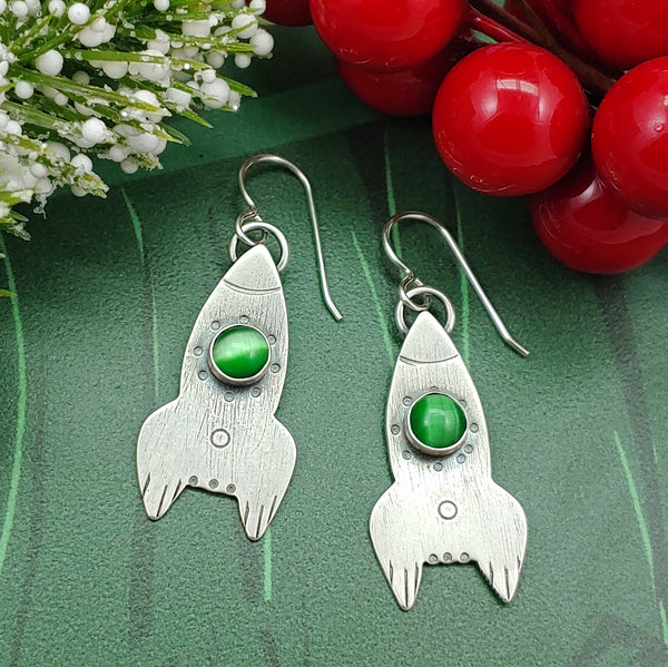 Rocket Ship Earrings - Green Cat's Eye