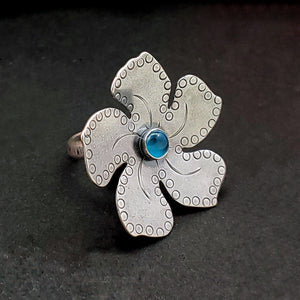 Large Handstamped Flower Ring with Gemstone