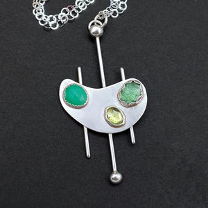Gemstone Kidney Shape Sterling Silver Necklace in Shades of Green