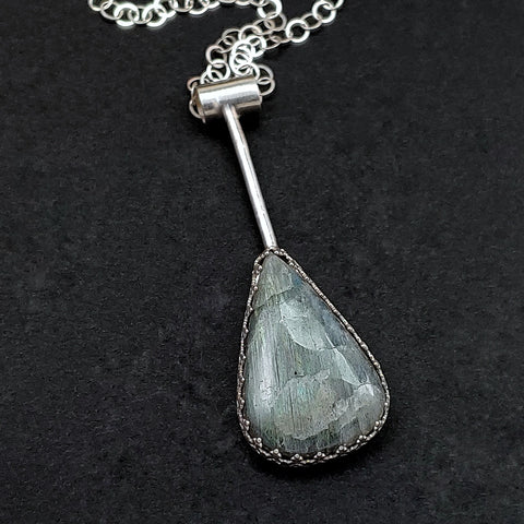 Minimalist Droplets Necklace with Labradorite