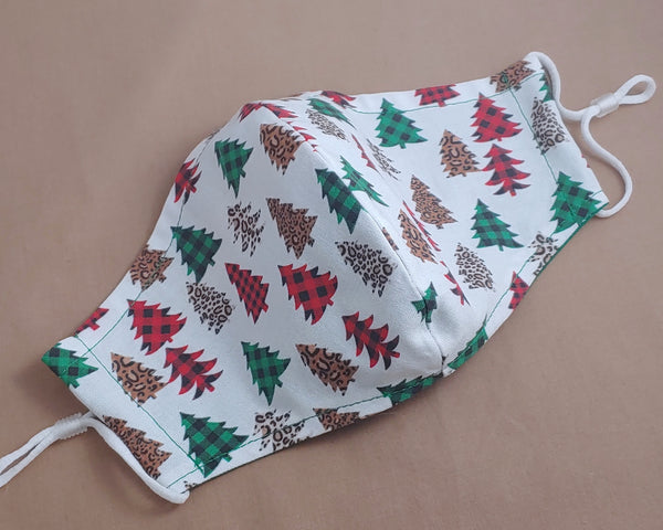 Leopard and Plaid Christmas Trees Fabric Face Mask