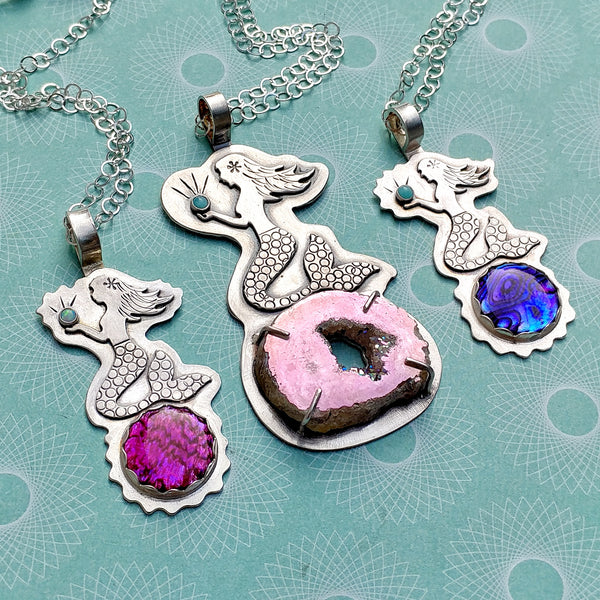 Trio of mermaid necklaces in sterling silver
