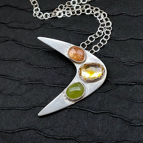 colorful gemstone boomerang necklace