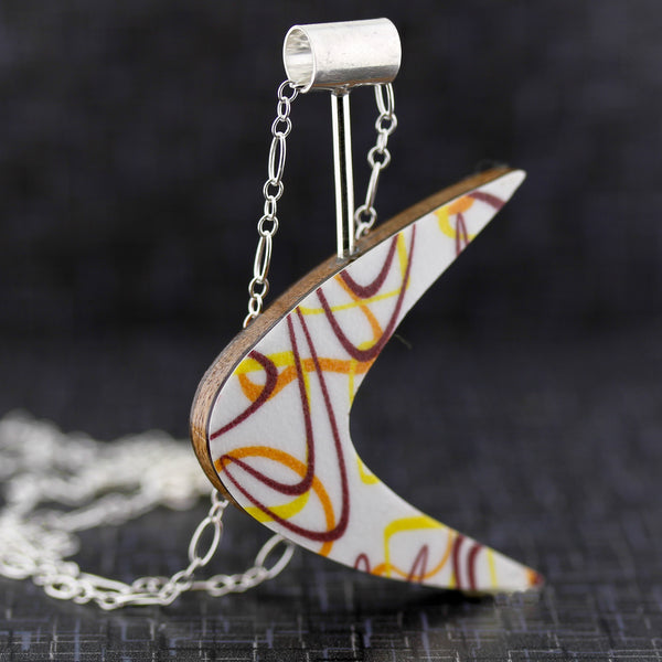 Boomerang Shaped Reversible Laminate Necklace