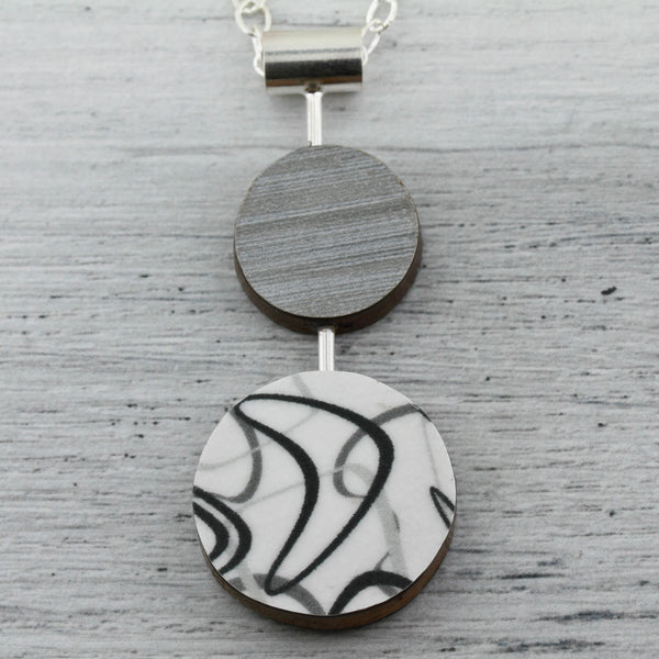 Laminate on wood necklace contemporary modern jewelry.