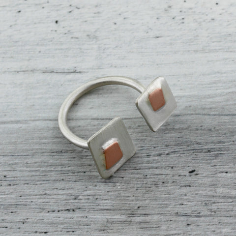 Sterling silver and copper in between the finger ring