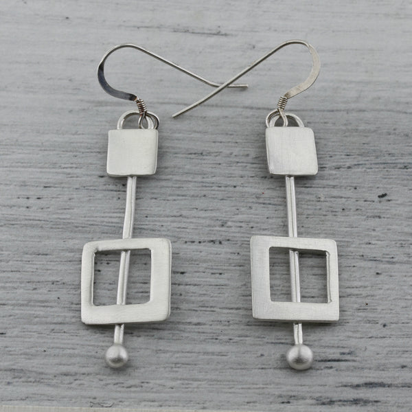 Soft squares sterling silver earrings in modernist design