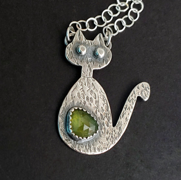 Mid century modern cat necklace with green stone