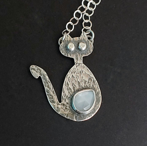 White moonstone gem belly cat necklace mid mod inspired