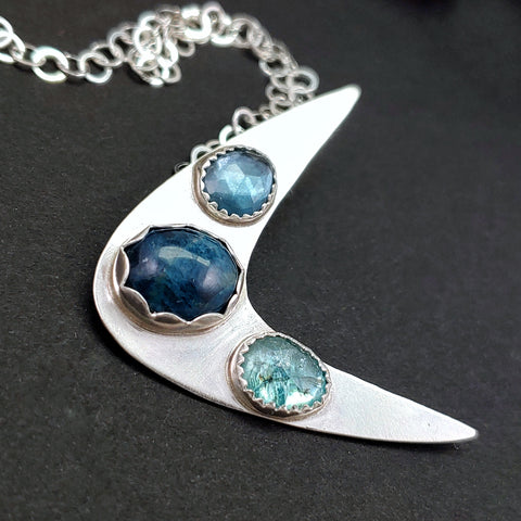 Triple Gemstone Sterling Silver Boomerang Necklace in Shades of Blue