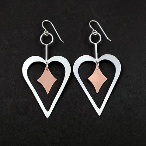Sterling silver heart earrings with copper retro diamond dangles in the center