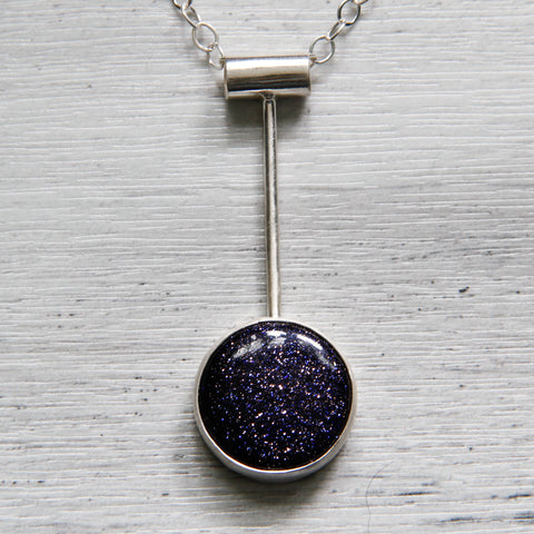 Gorgeous blue goldstone minimalist sterling silver necklace