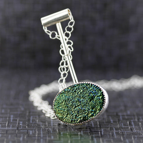 Green druzy minimalist sterling silver necklace