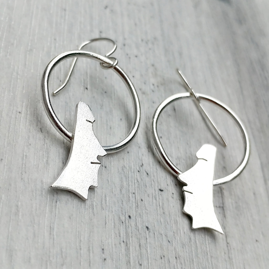 Moai Head Hoop Earrings