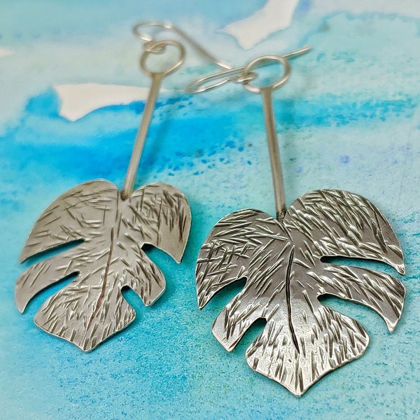 monstera leaf earrings sterling silver large dangles