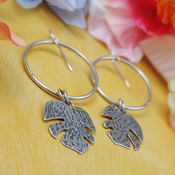 monstera leaf earrings in sterling silver