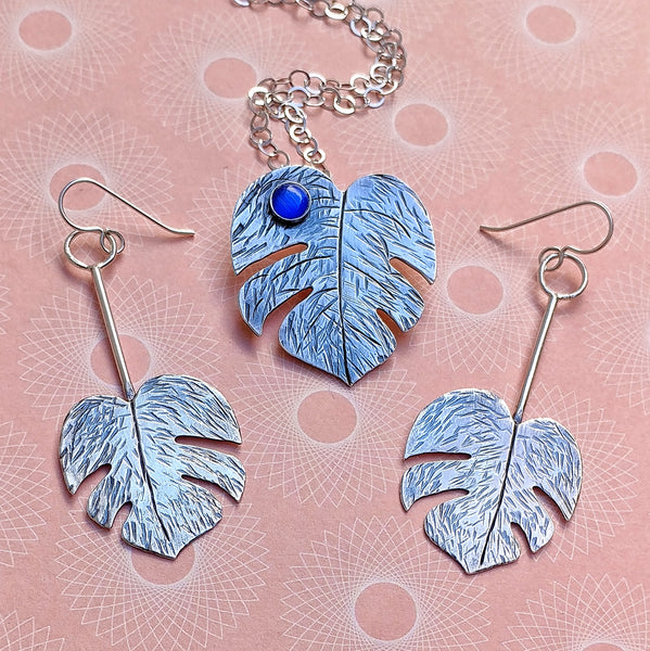 Monstera leaf necklace and earrings options