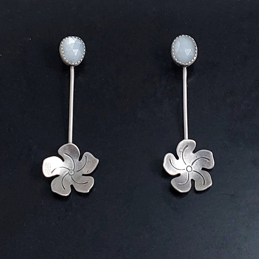 Sterling Silver Flower Dangle Earrings with White Moonstone