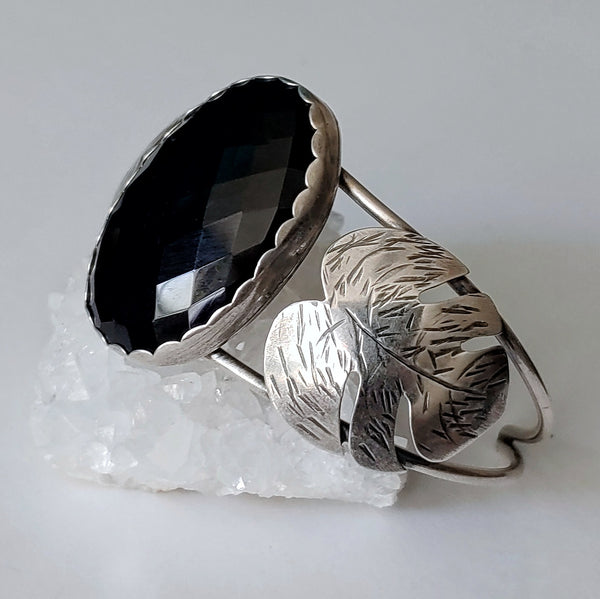 Black Onyx Monstera Leaf Cuff Bracelet