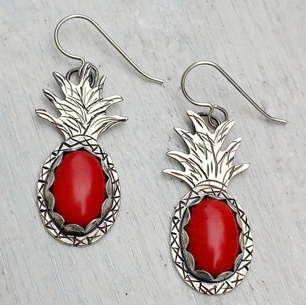 Red coral pineapple earrings