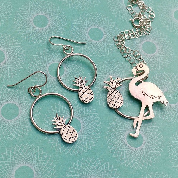 Sterling silver pineapple and flamingo necklace and earrings