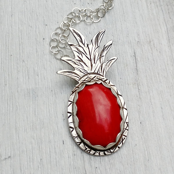 Red coral pineapple handmade from sterling silver