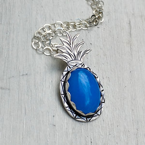 Blue agate sterling silver pineapple necklace