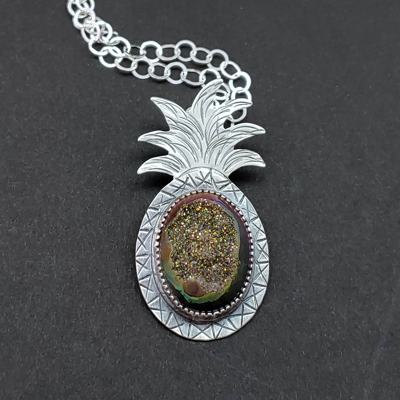 druzy pineapple necklace
