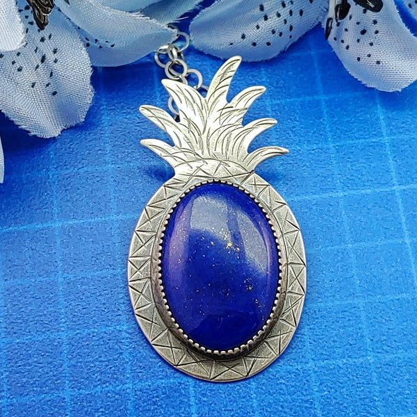 pineapple necklace featuring blue lapis lazuli and sterling silver