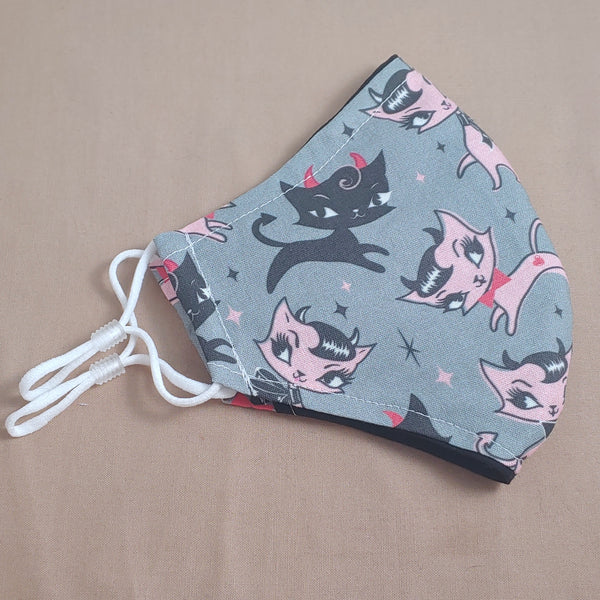 Rockabilly Cats Fabric Face Mask
